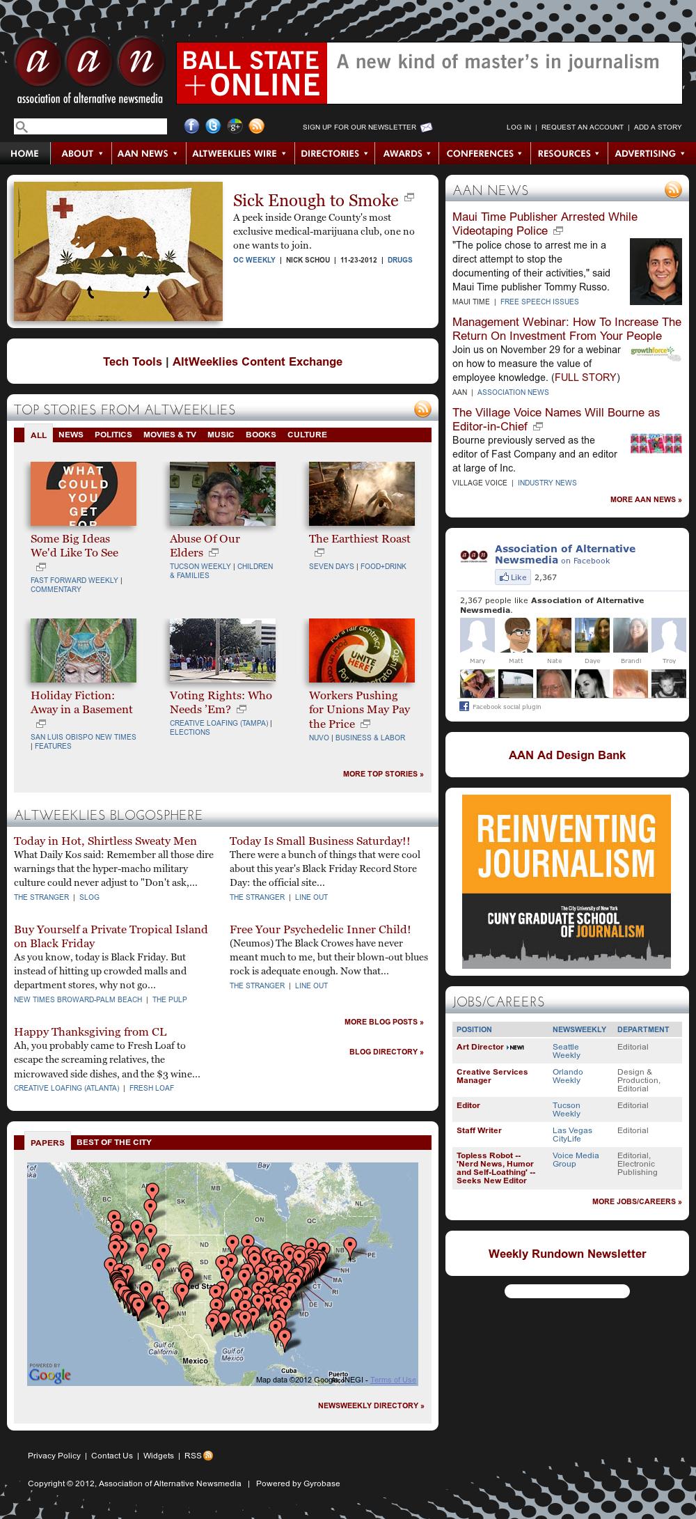 Association of Alternative Newsmedia at Sunday Nov. 25, 2012, 6:01 a.m. UTC