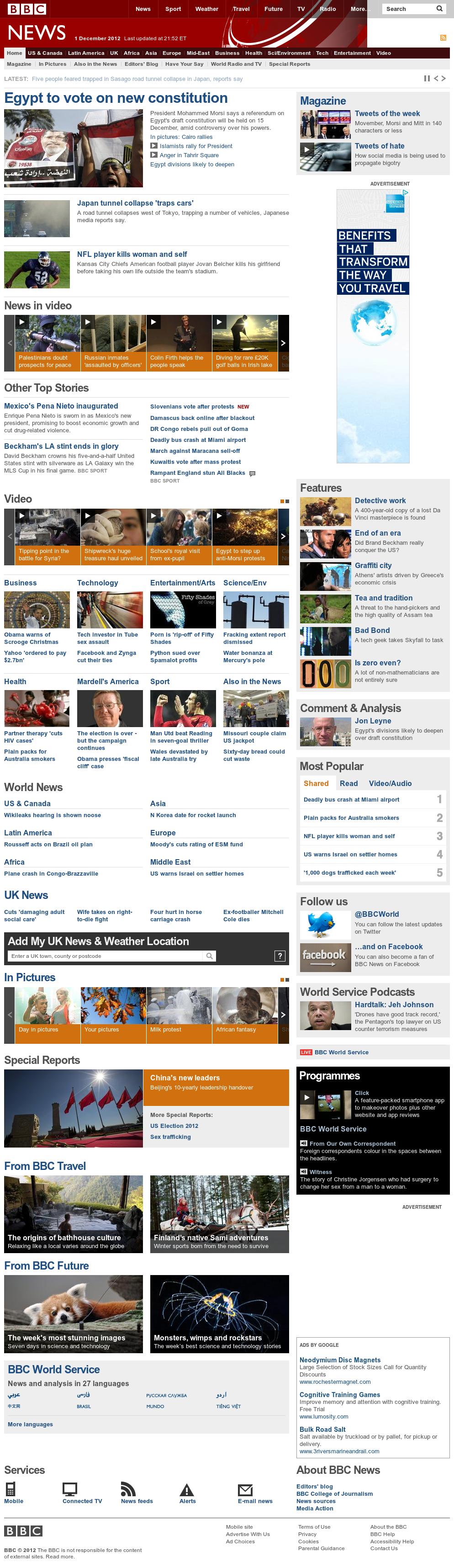 BBC at Sunday Dec. 2, 2012, 3:01 a.m. UTC