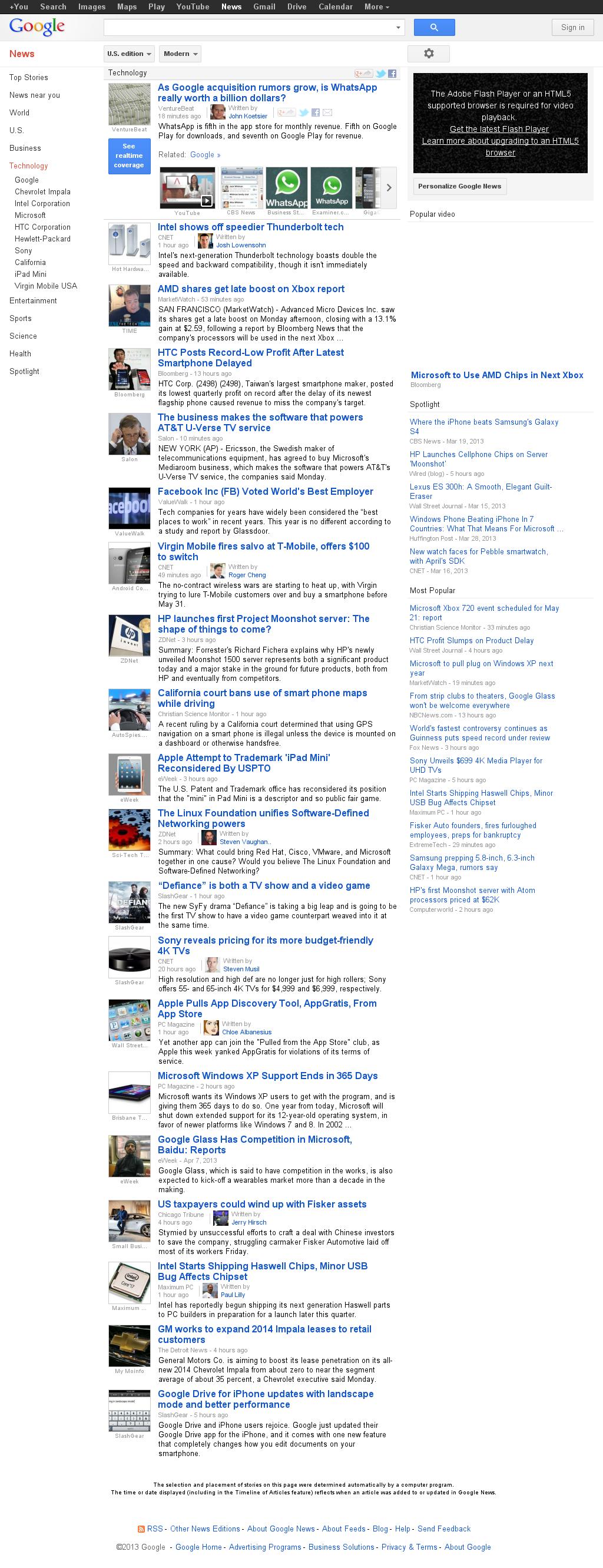 Google News: Technology at Monday April 8, 2013, 9:09 p.m. UTC
