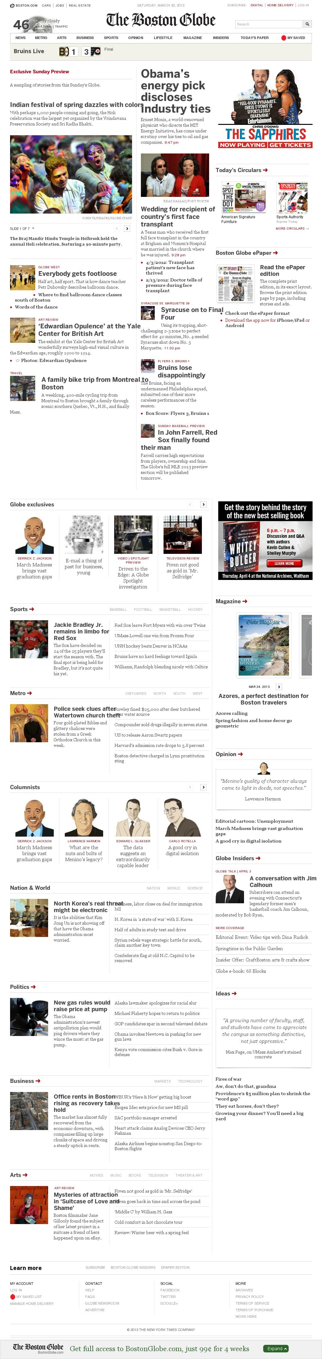 The Boston Globe at Sunday March 31, 2013, 12:02 a.m. UTC