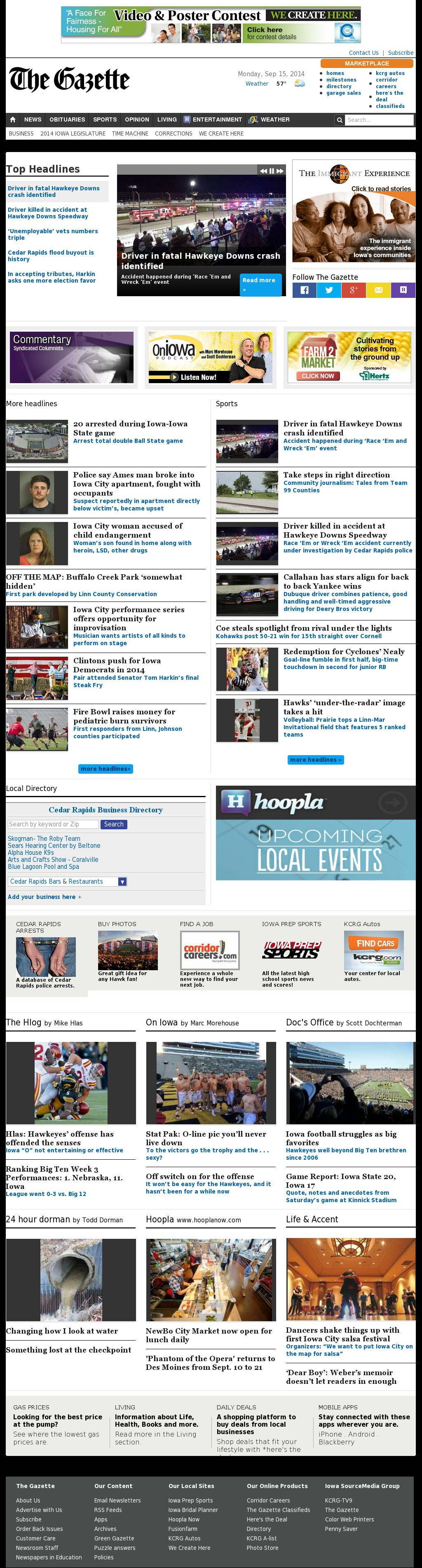 The (Cedar Rapids) Gazette at Monday Sept. 15, 2014, 3:07 p.m. UTC