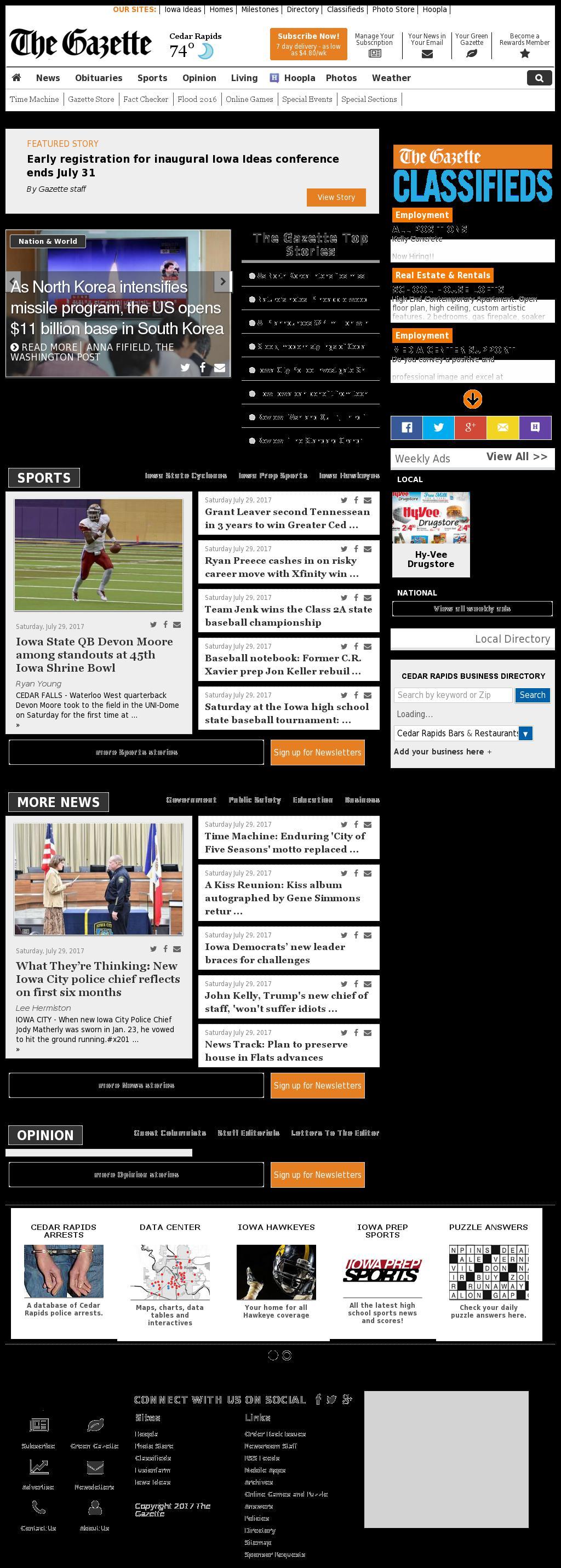The (Cedar Rapids) Gazette at Sunday July 30, 2017, 2:06 a.m. UTC