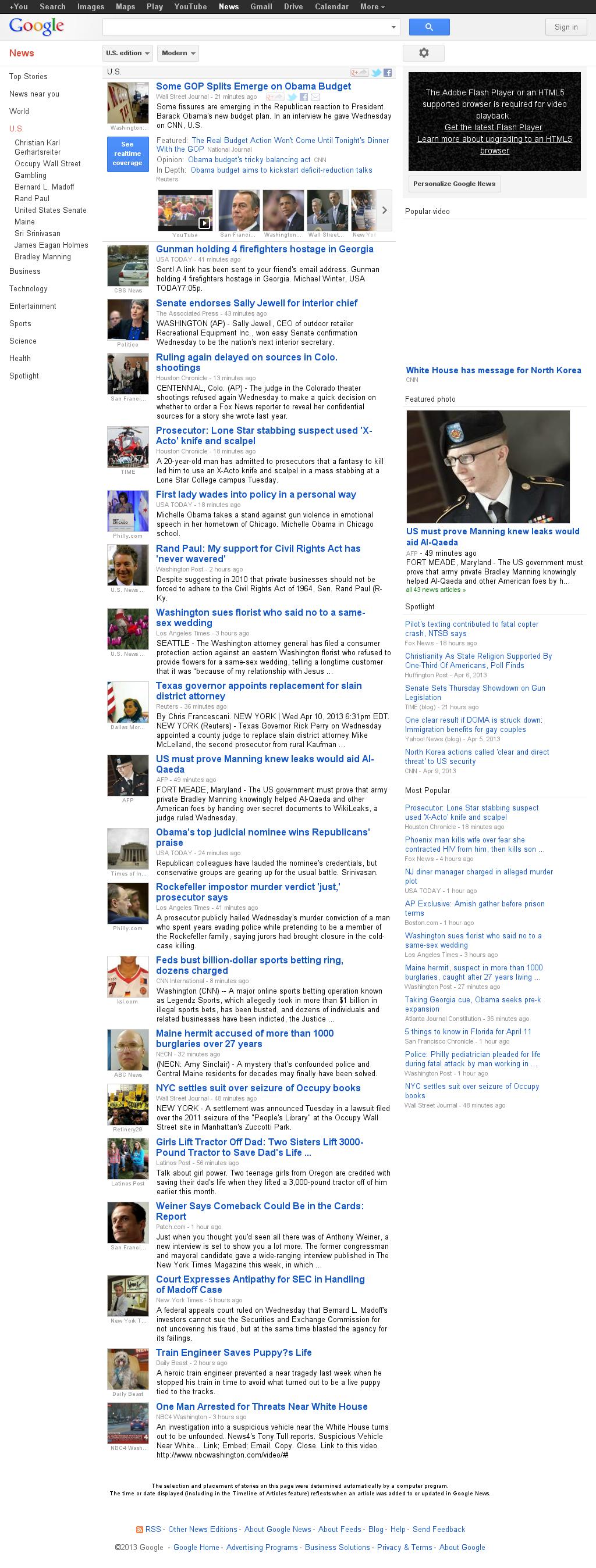 Google News: U.S. at Wednesday April 10, 2013, 11:10 p.m. UTC