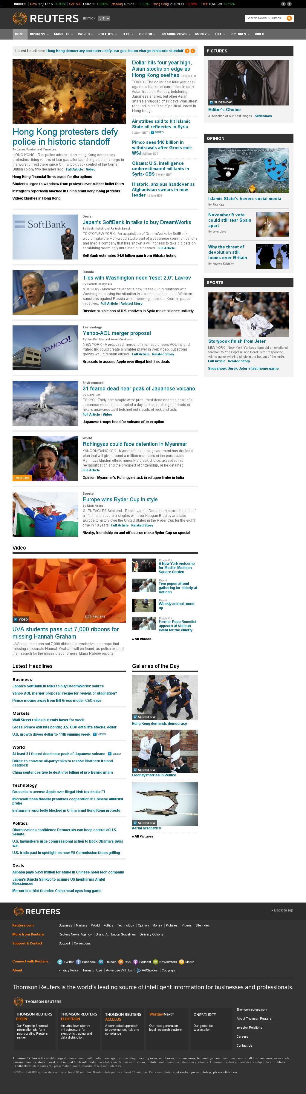 Reuters at Monday Sept. 29, 2014, 1:15 a.m. UTC