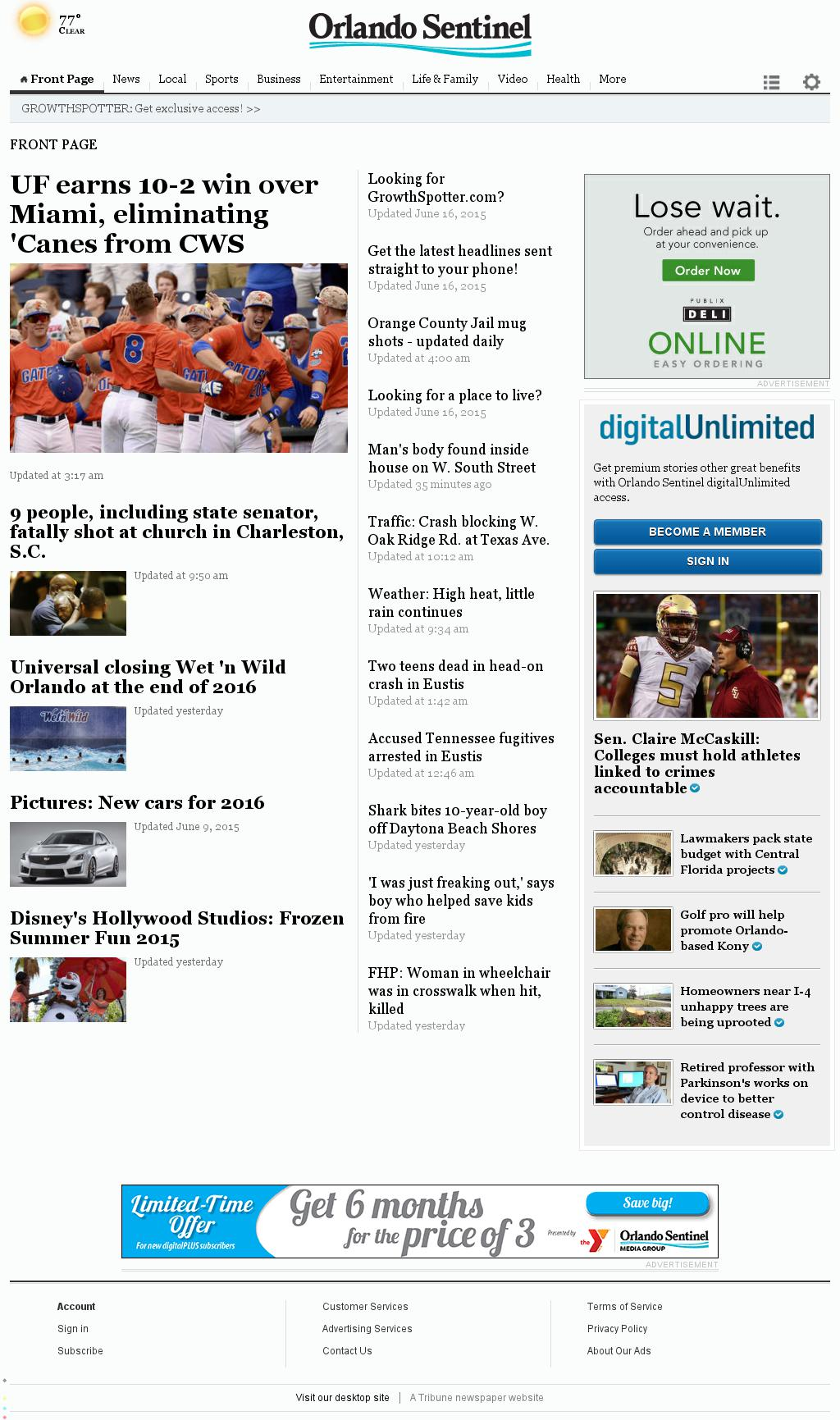 Orlando Sentinel at Thursday June 18, 2015, 11:17 a.m. UTC