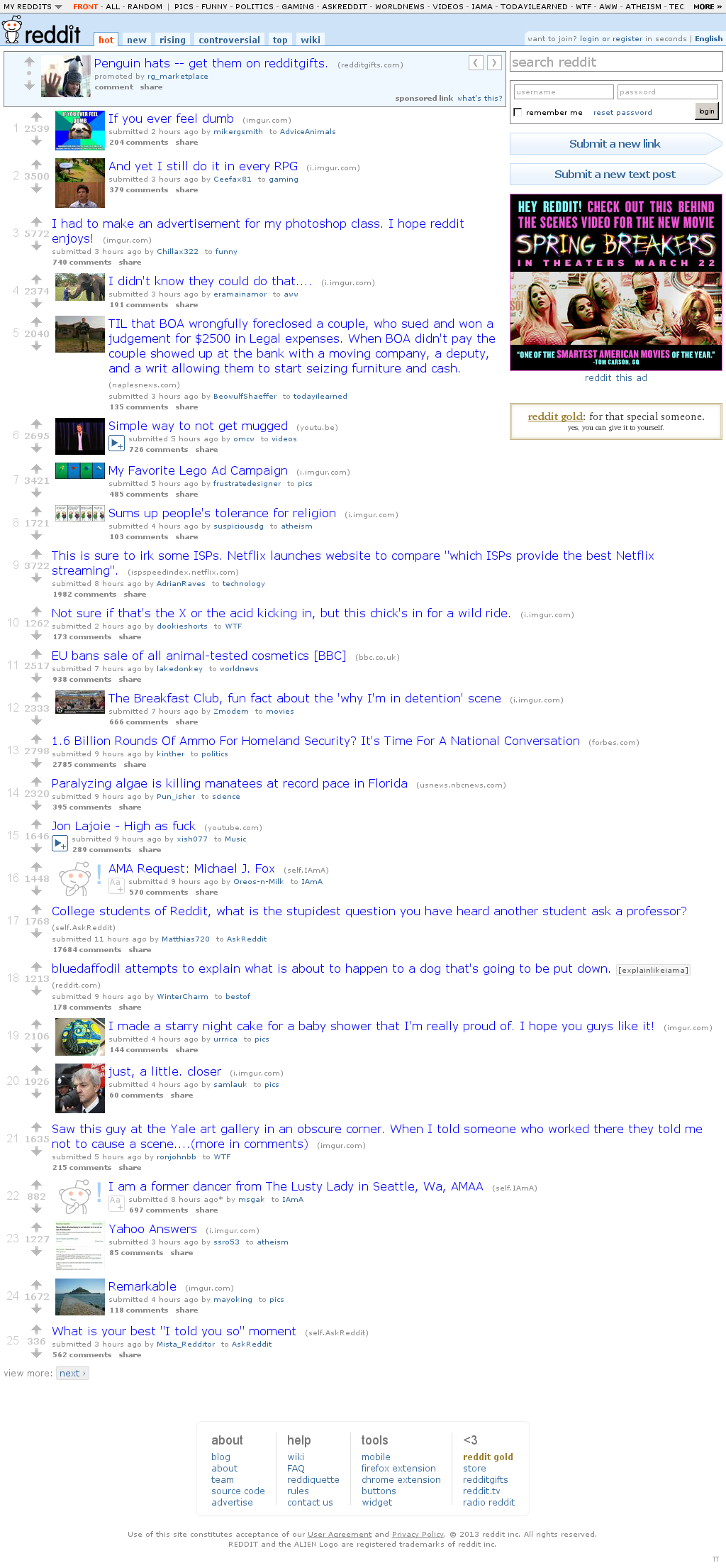 Reddit at Tuesday March 12, 2013, 1:19 a.m. UTC