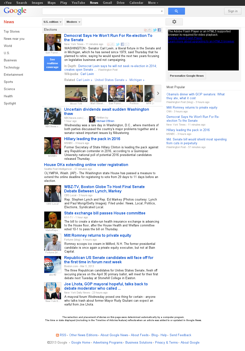 Google News: Elections at Friday March 8, 2013, 2:07 a.m. UTC