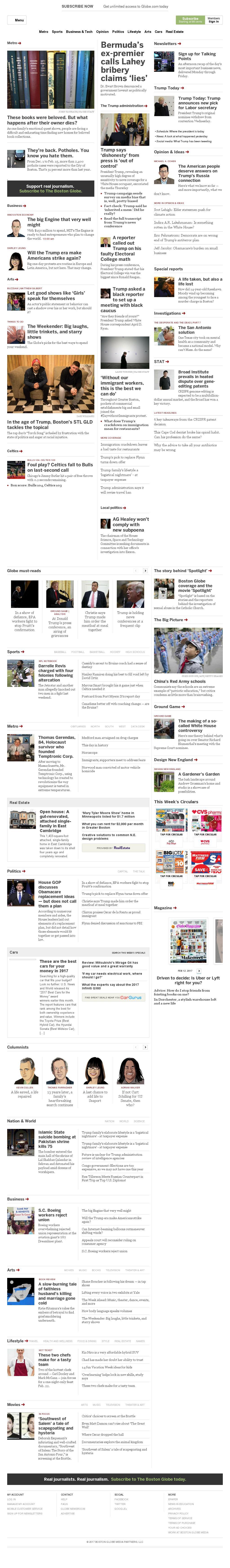 The Boston Globe at Friday Feb. 17, 2017, noon UTC