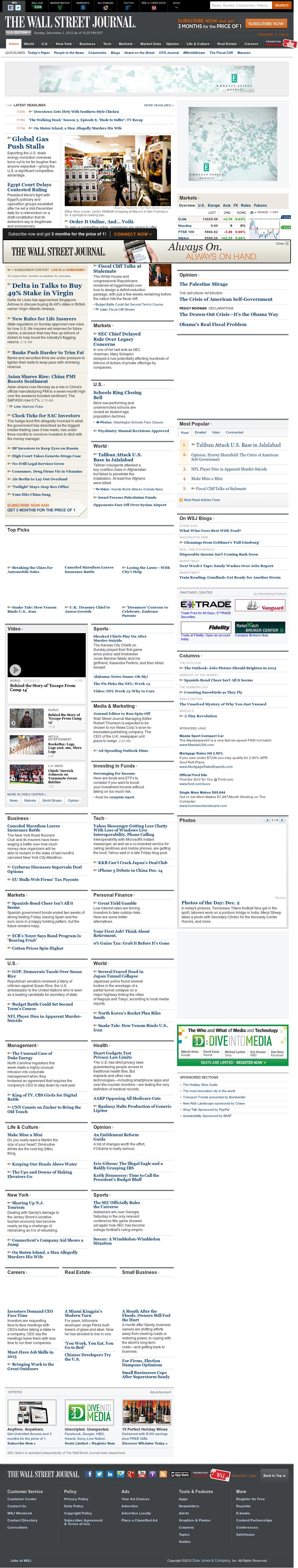 The Wall Street Journal at Monday Dec. 3, 2012, 3:34 a.m. UTC