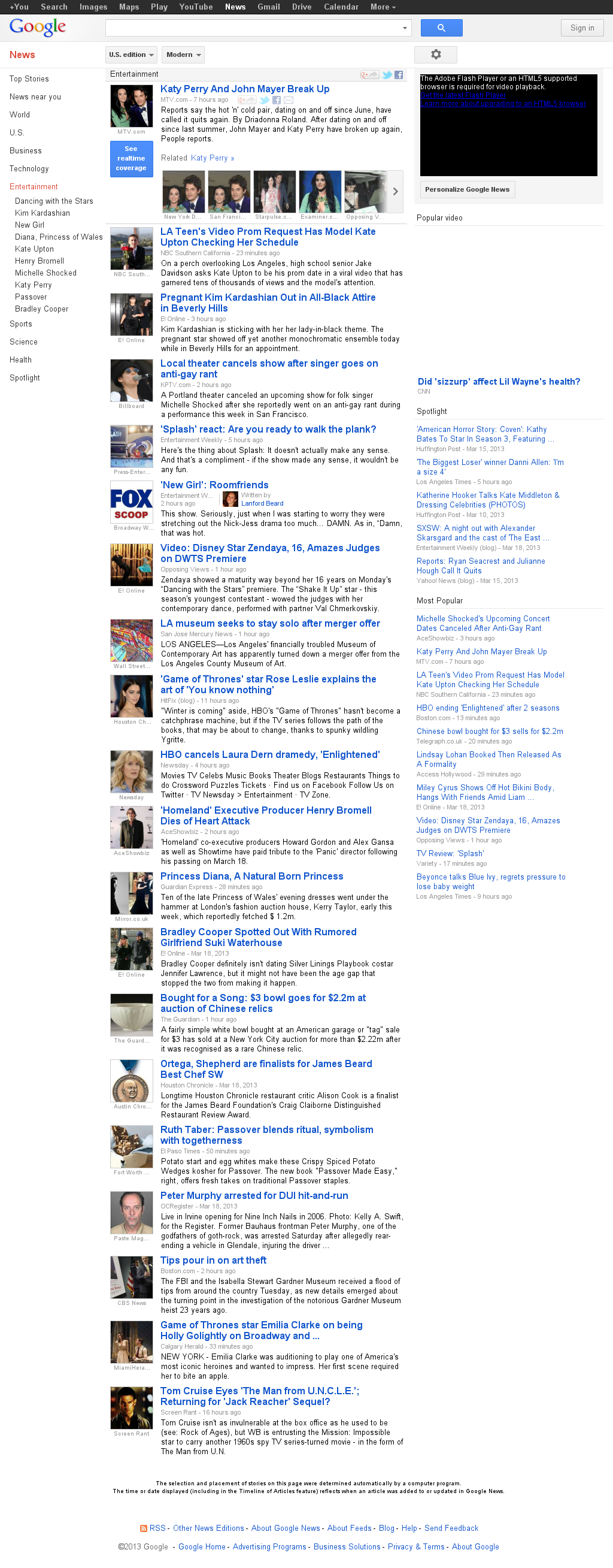 Google News: Entertainment at Wednesday March 20, 2013, 7:09 a.m. UTC