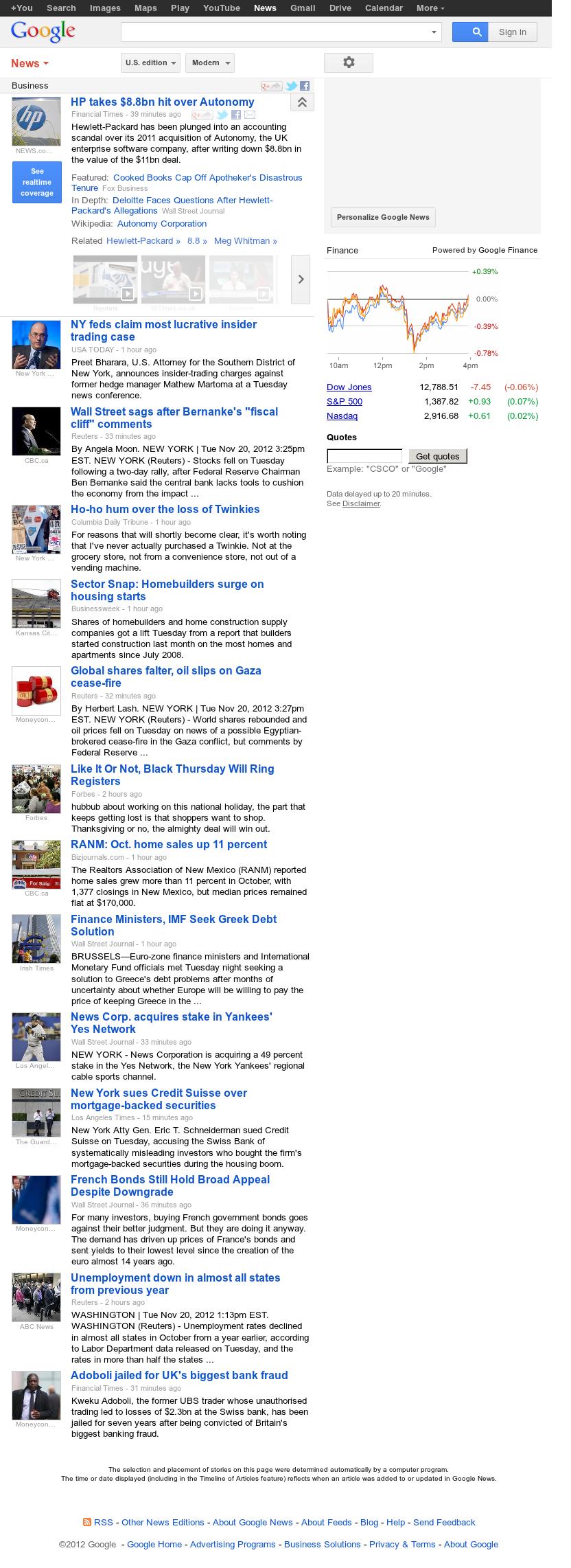 Google News: Business at Tuesday Nov. 20, 2012, 9:11 p.m. UTC
