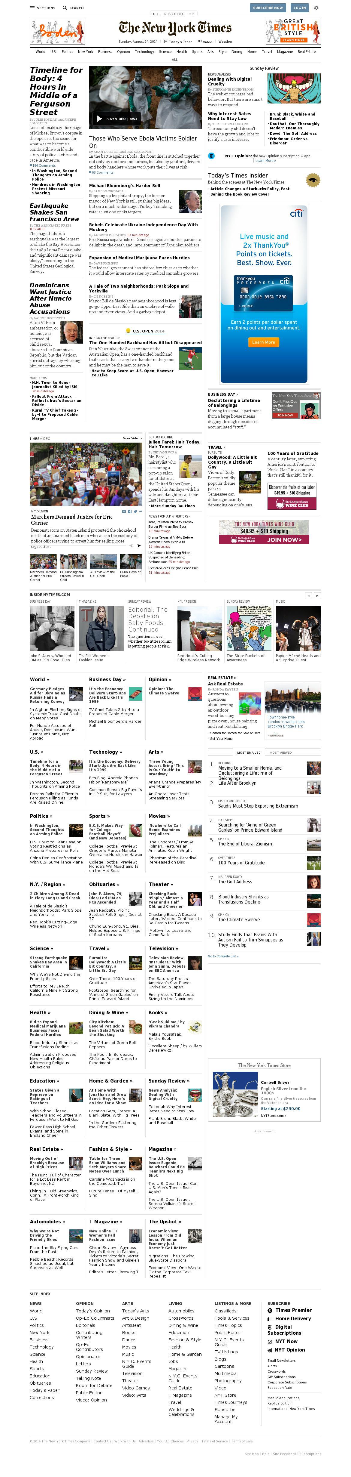 The New York Times at Sunday Aug. 24, 2014, 2:16 p.m. UTC