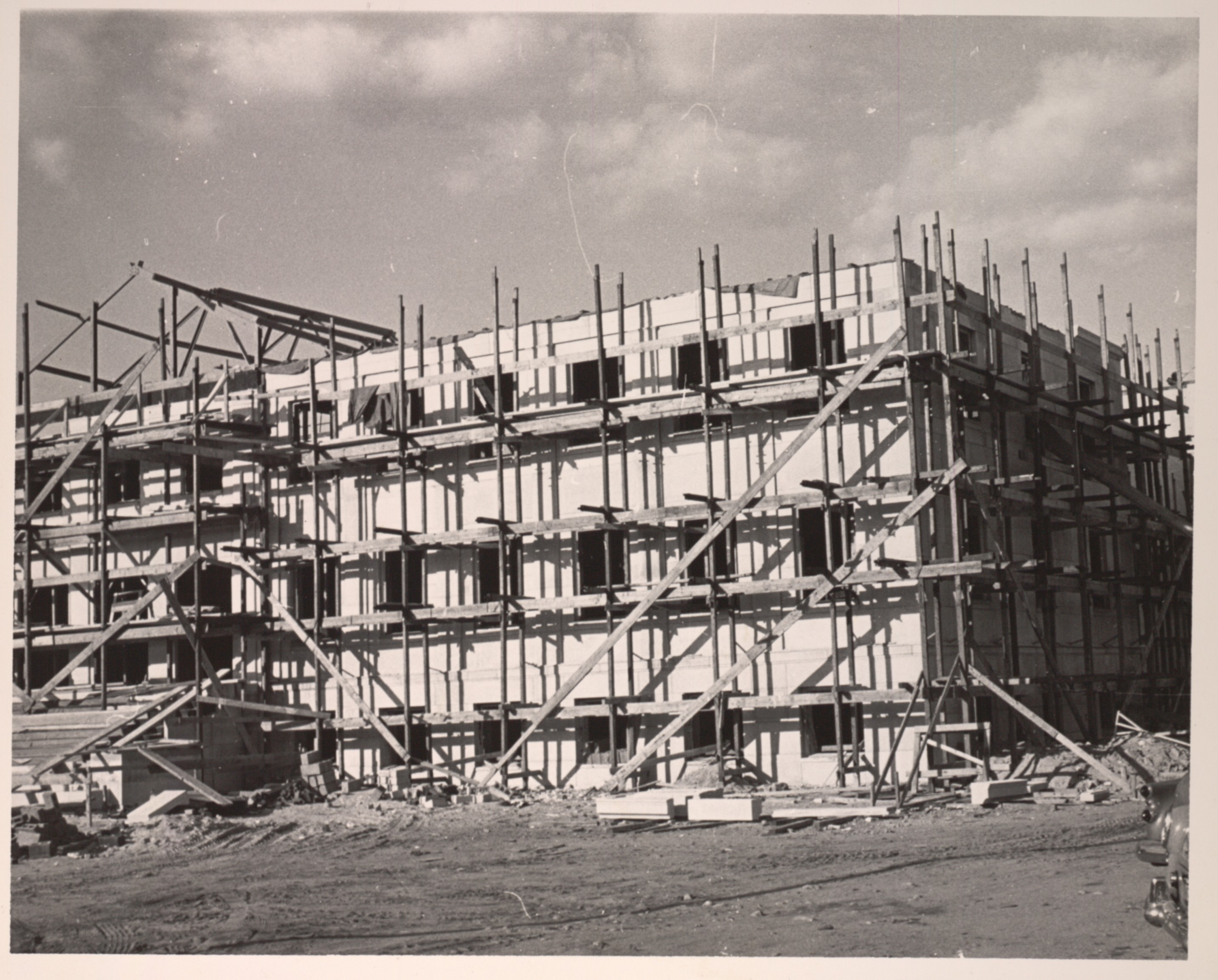 Lowell Textile Institute, Lowell, MA. Construction of Cumniock Hall.
