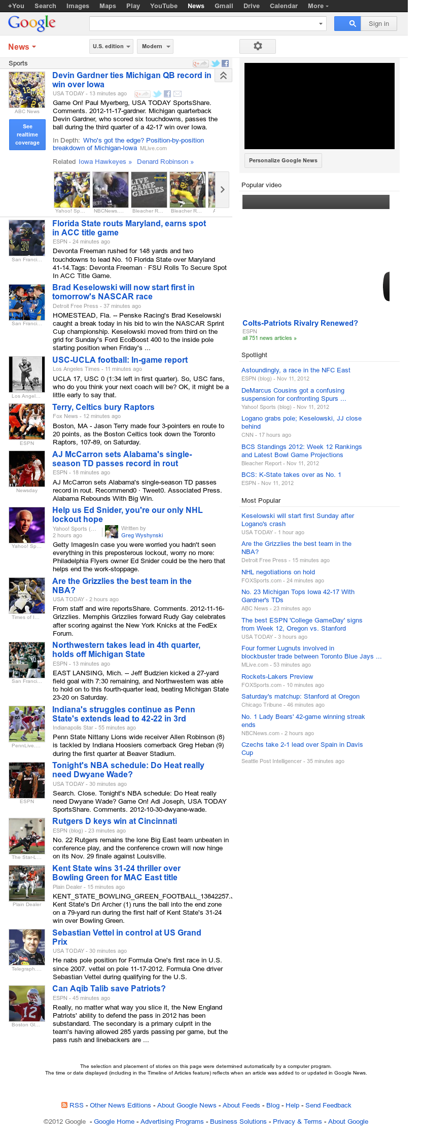 Google News: Sports at Saturday Nov. 17, 2012, 9:11 p.m. UTC