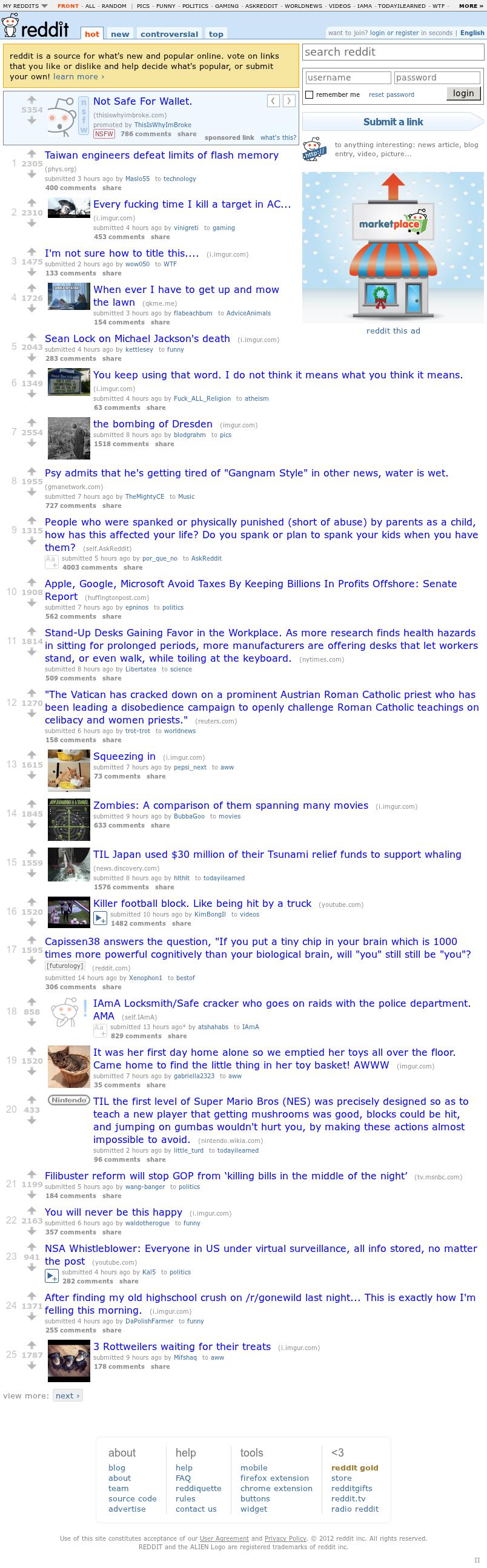Reddit at Sunday Dec. 2, 2012, 6:38 p.m. UTC