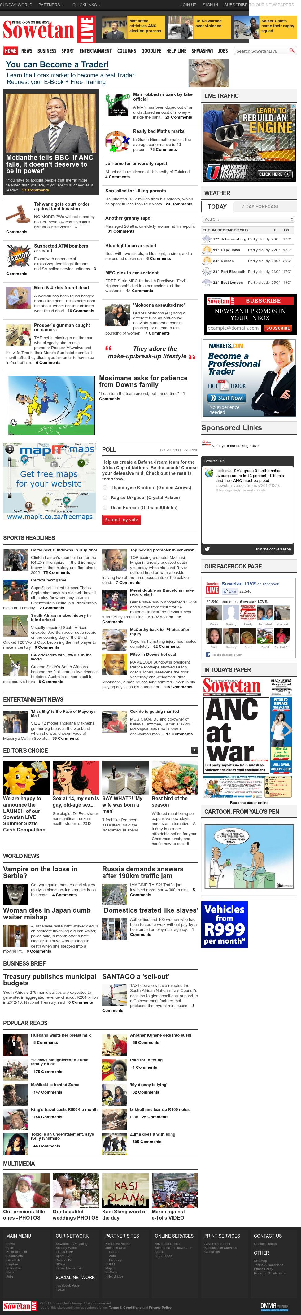 Sowetan Live at Tuesday Dec. 4, 2012, 12:30 a.m. UTC