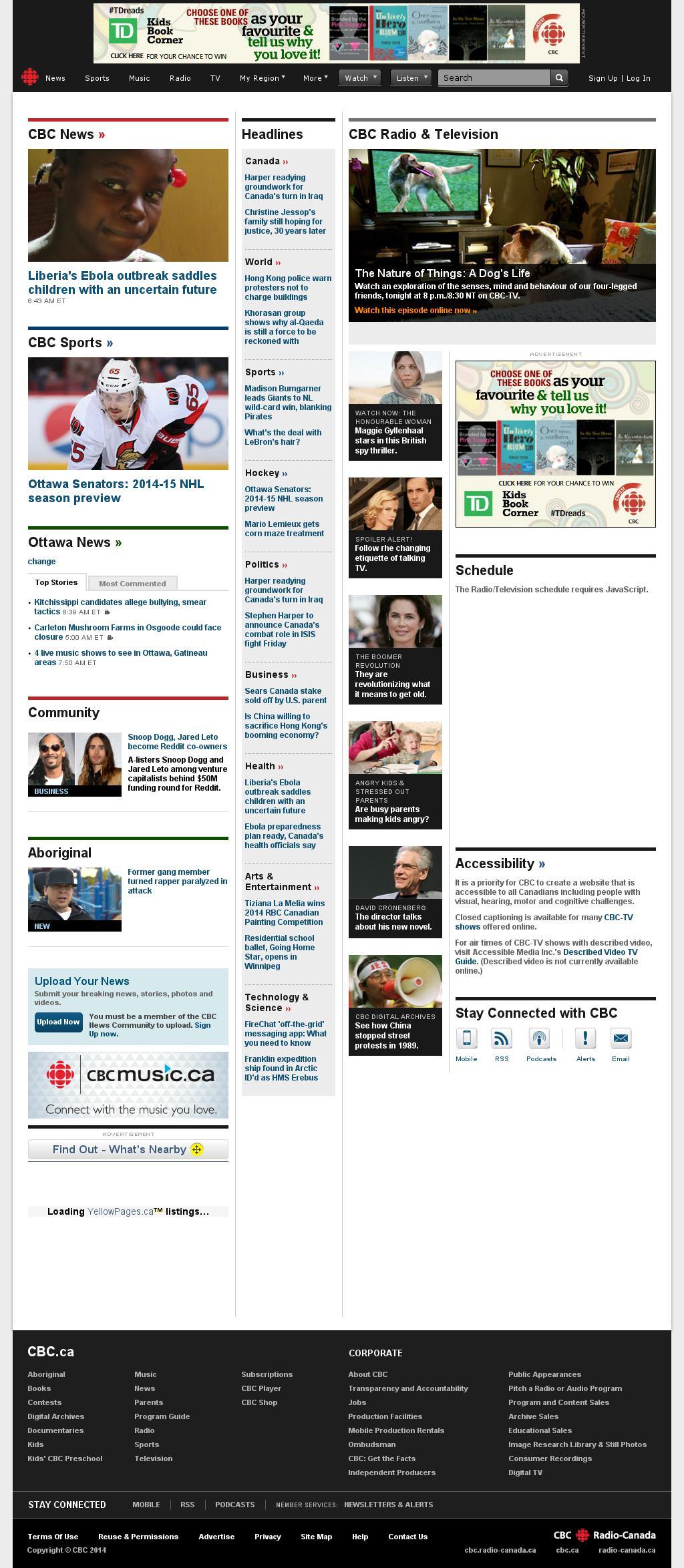 CBC at Thursday Oct. 2, 2014, 1:01 p.m. UTC