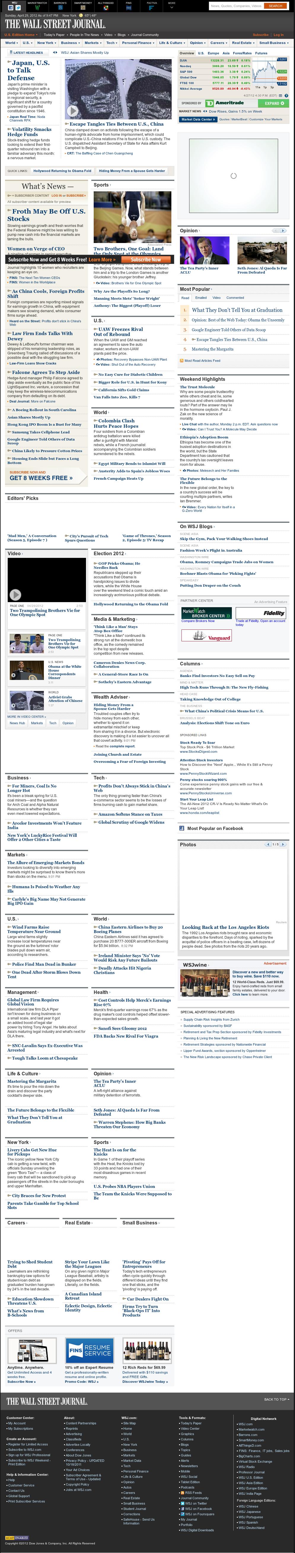 The Wall Street Journal at Monday April 30, 2012, 5:12 a.m. UTC
