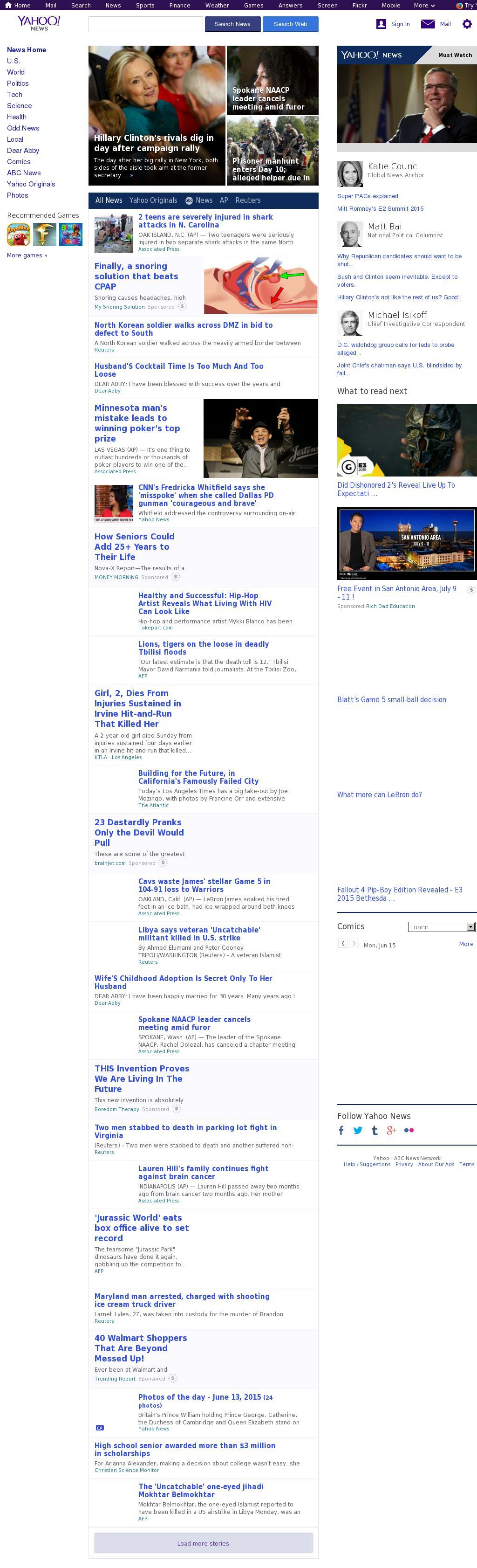 Yahoo! News at Monday June 15, 2015, 6:40 a.m. UTC