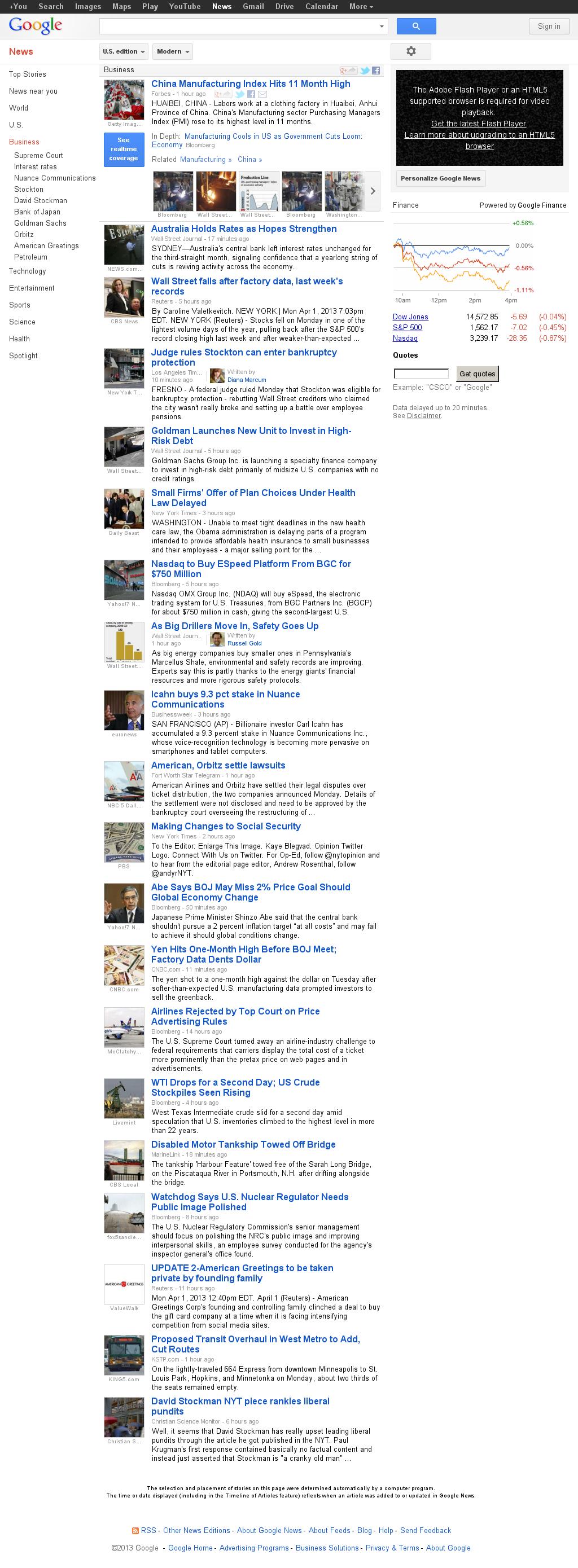 Google News: Business at Tuesday April 2, 2013, 4:07 a.m. UTC