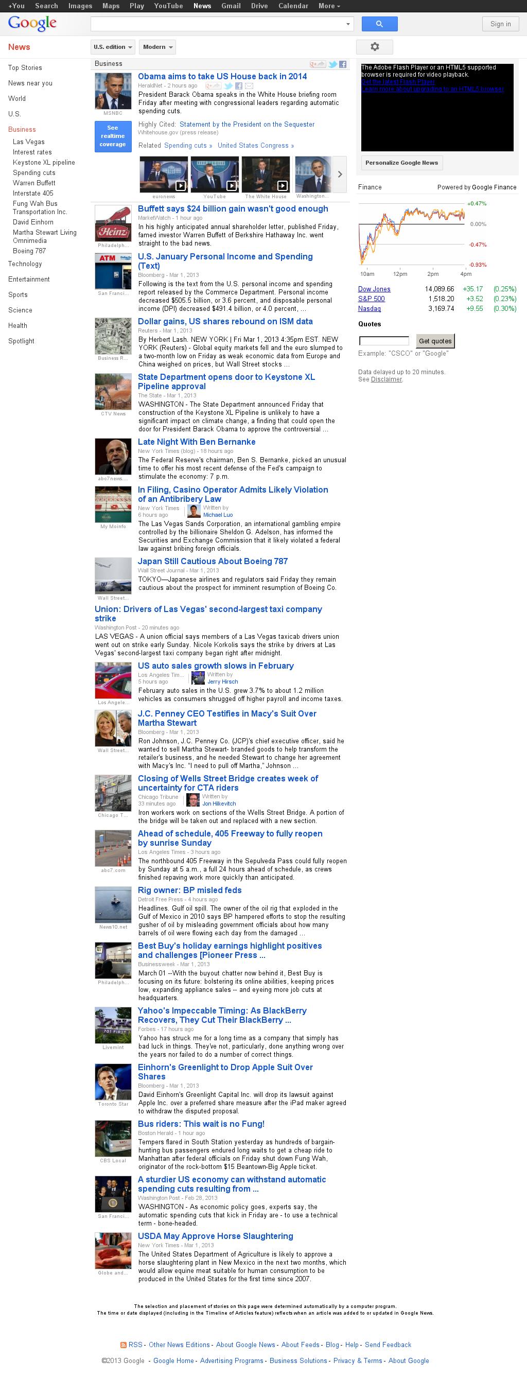 Google News: Business at Sunday March 3, 2013, 10:08 a.m. UTC