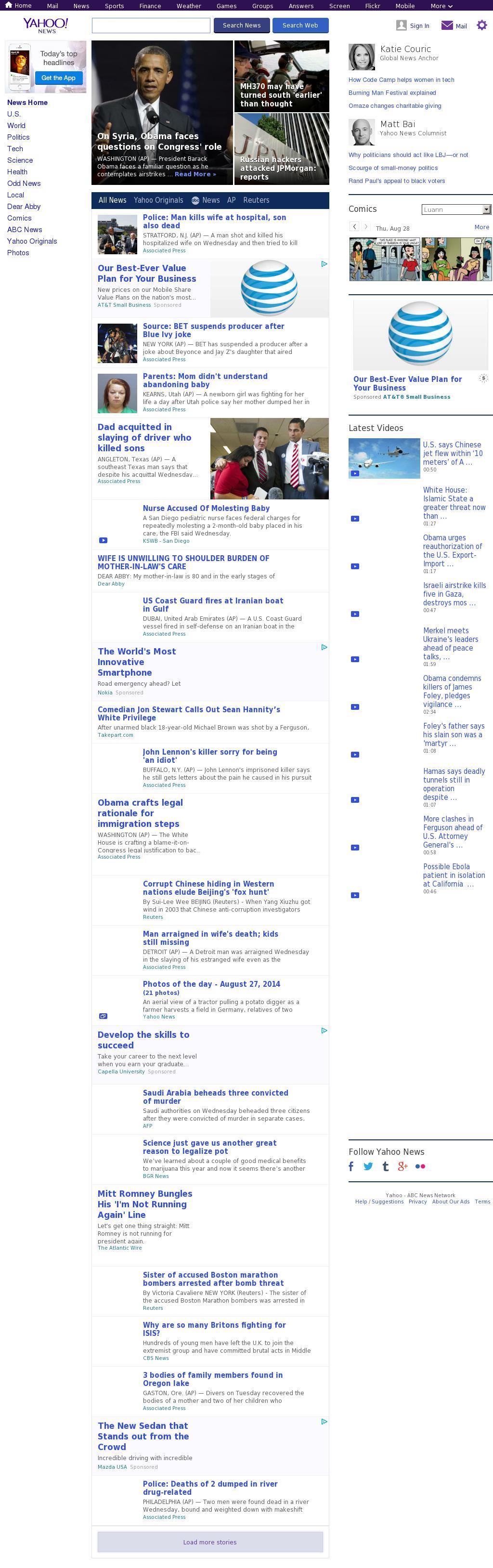 Yahoo! News at Thursday Aug. 28, 2014, 7:22 a.m. UTC